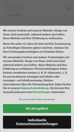 Vorschau der mobilen Webseite www.heinowille.de, Heilpraxis Heino Wille Osteopath D.O.