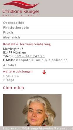 Vorschau der mobilen Webseite www.osteopathie-solln.de, Christiane Krueger