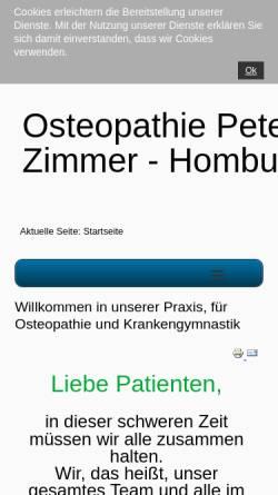 Vorschau der mobilen Webseite peter-zimmer-osteopathie.de, Praxis für Krankengymnastik und Osteopathie Peter Zimmer