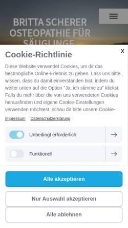 Vorschau der mobilen Webseite www.osteopathie-scherer.de, Praxis für Osteopathie Britta Scherer