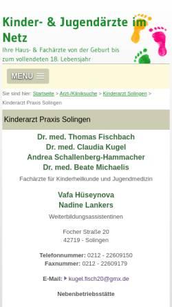 Vorschau der mobilen Webseite www.kinderaerzte-im-netz.de, Kinder- und Jugendärzte in Solingen
