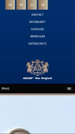 Vorschau der mobilen Webseite www.aslan.info, Aslan Originaltherapien
