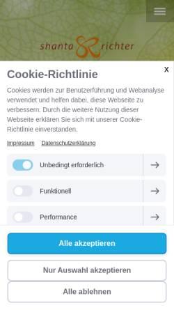 Vorschau der mobilen Webseite www.shanta-richter.de, Shanta Richter