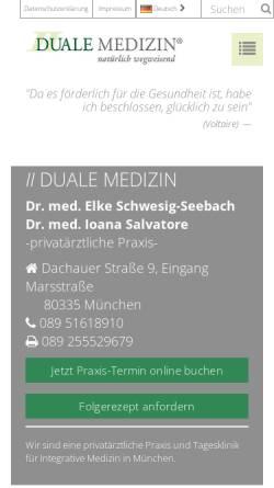 Vorschau der mobilen Webseite www.duale-medizin.de, Duale Medizin GmbH Dr. med. Elke Seebach