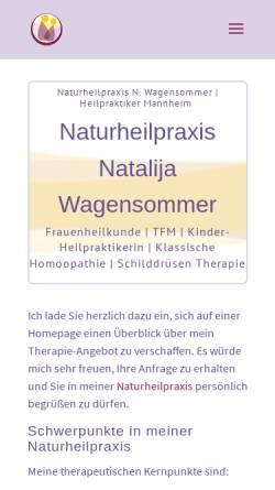 Vorschau der mobilen Webseite www.wagensommer.de, Naturheilpraxis Natalija Wagensommer