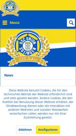 Vorschau der mobilen Webseite www.unionsolingen.de, 1. FC Union Solingen 1990 e.V.