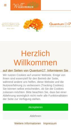 Vorschau der mobilen Webseite quantum17.de, Quantum17 - Zentrum für Ganzheitliche Gesundheit