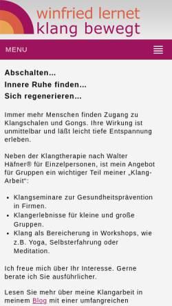 Vorschau der mobilen Webseite www.winfried-lernet.de, Winfried Lernet, Klang bewegt