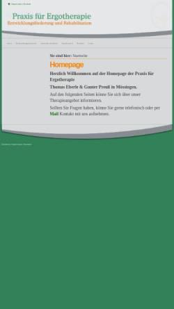 Vorschau der mobilen Webseite xn--ergotherapie-mssingen-uec.de, Praxis für Ergotherapie Eberle und Preuß