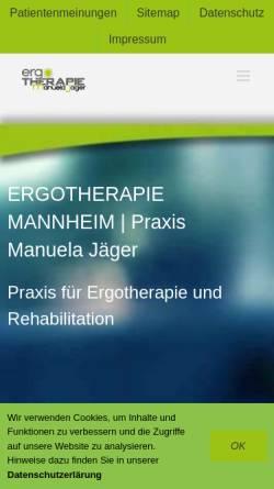 Vorschau der mobilen Webseite www.ergo-jaeger.de, Ergotherapie - Manuela Jäger