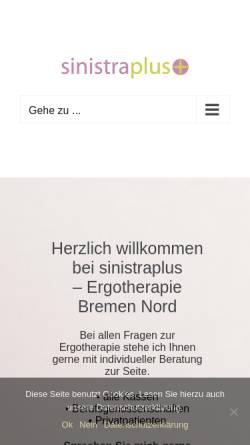 Vorschau der mobilen Webseite www.sinistraplus.de, Sinistraplus Ergotherapie