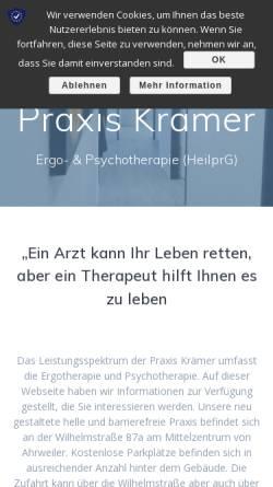 Vorschau der mobilen Webseite www.praxis-kraemer.com, Björn Krämer - Praxis für Ergotherapie und Psychotherapie