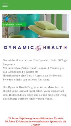 Vorschau der mobilen Webseite www.physiotherapiedonautal.de, Physiotherapie Donautal