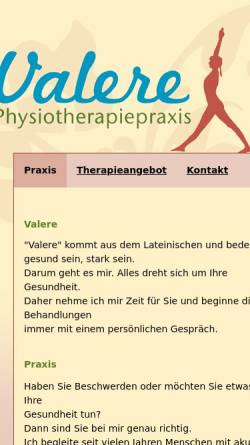 Vorschau der mobilen Webseite www.physio-valere.de, Physiotherapiepraxis Valere