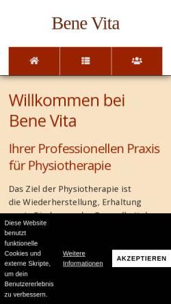 Vorschau der mobilen Webseite www.physio-benevita.de, Benevita Praxis für Physiotherapie
