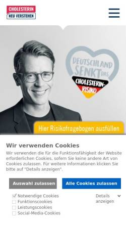 Vorschau der mobilen Webseite www.cholesterin-senken.de, Cholesterin senken bei familiärer Hypercholesterinämie