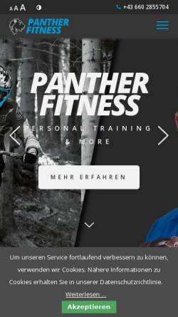 Vorschau der mobilen Webseite www.panther-fitness.at, Panther Fitness Personal Training & more