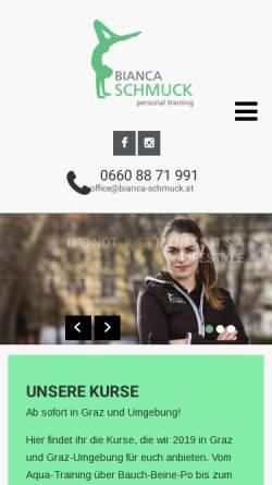 Vorschau der mobilen Webseite bianca-schmuck.at, Bianca Schmuck Personal Training