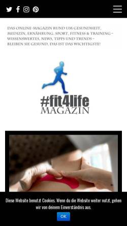 Vorschau der mobilen Webseite www.fit4life-magazin.de, Fit4Life Magazin