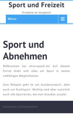 Vorschau der mobilen Webseite www.ohne-speck.de, Ohne Speck