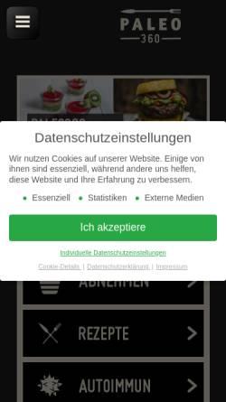 Vorschau der mobilen Webseite www.paleo360.de, Paleo360.de