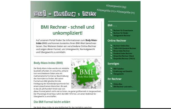 Vorschau von www.bmi-online.info, BMI Rechner