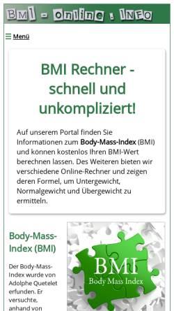 Vorschau der mobilen Webseite www.bmi-online.info, BMI Rechner