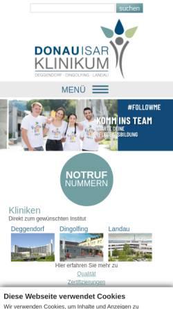 Vorschau der mobilen Webseite www.donau-isar-klinikum.de, Donauisar Klinikum Deggendorf-Dingolfing-Landau gKU
