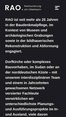 Vorschau der mobilen Webseite www.rao-berlin.de, Restaurierung am Oberbaum GmbH