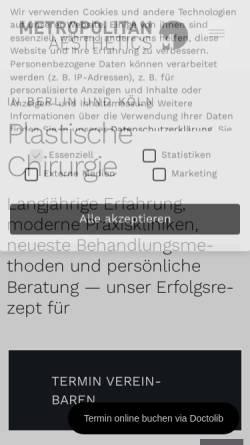 Vorschau der mobilen Webseite metropolitan-aesthetics.de, Metropolitan Aesthetics