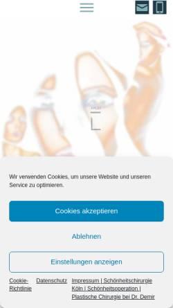 Vorschau der mobilen Webseite www.plastischechirurgie-drdemir.de, Praxisklinik Dr. Erhan Demir