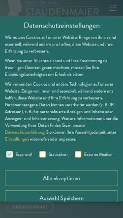 Vorschau der mobilen Webseite www.prof-staudenmaier.de, Prof. Dr. med Rainer Staudenmaier