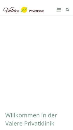 Vorschau der mobilen Webseite valere-klinik.de, Valere Psychosomatische Privatklinik GmbH