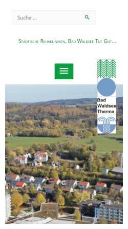 Vorschau der mobilen Webseite www.rehakliniken-waldsee.de, Rehakliniken Bad Waldsee