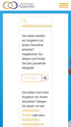 Vorschau der mobilen Webseite www.einfacher-hoeren.de, Einfacher Hören