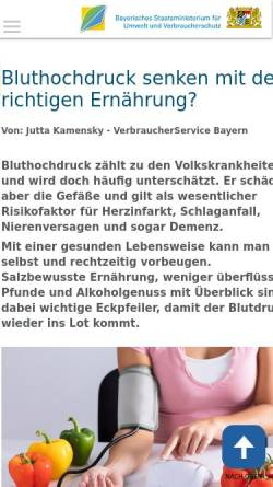 Vorschau der mobilen Webseite www.vis.bayern.de, Bluthochdruck