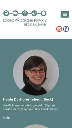 Vorschau der mobilen Webseite www.kelkheim-logopaedie.de, Logopädische Praxis Beck und Czasny