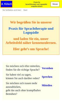 Vorschau der mobilen Webseite www.angelika-koelsch.de, Praxis für Sprachtherapie und Logopädie