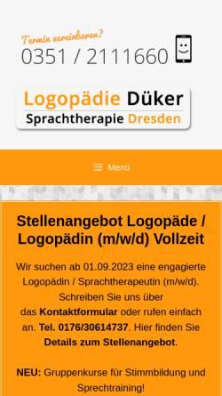 Vorschau der mobilen Webseite www.sprachtherapie-dueker.de, Juliane Düker – Logopädie Düker