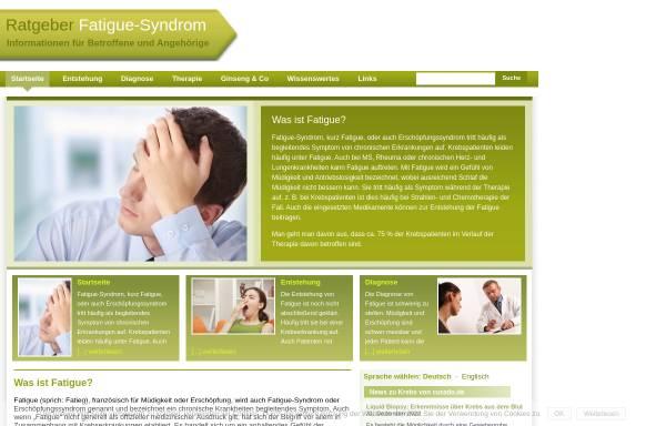 Vorschau von www.fatigue.info, Ratgeber Fatigue Syndrom - Barbara Kliem