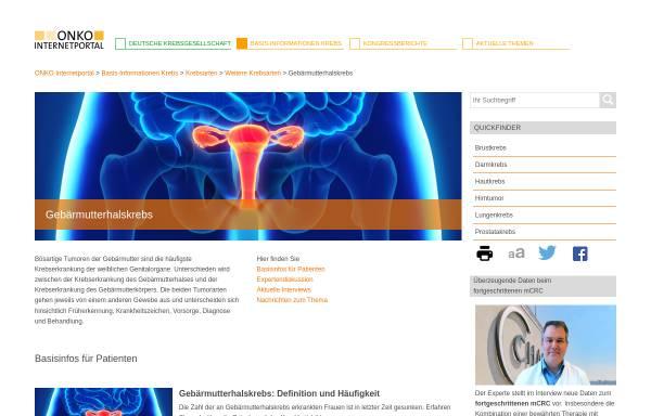 Vorschau von www.krebsgesellschaft.de, Zervixkarzinom