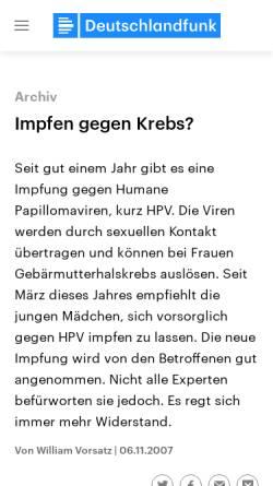 Vorschau der mobilen Webseite www.deutschlandfunk.de, Deutschlandradio: Impfen gegen Krebs