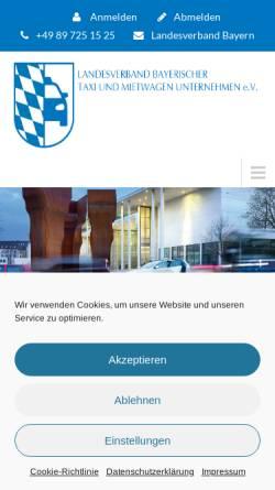 Vorschau der mobilen Webseite www.taxi-bayern.de, Landesverband Bayerischer Taxi- und Mietwagenunternehmer e.V.