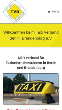 Vorschau der mobilen Webseite www.taxiverband-berlin.de, Taxi Verband Berlin Brandenburg e.V. (TVB)