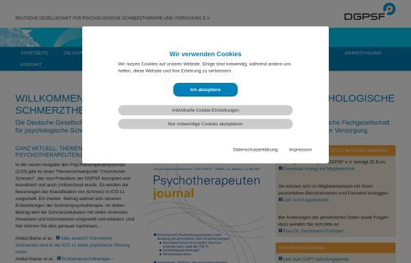 Vorschau von www.dgpsf.de, Deutsche Gesellschaft für psychologische Schmerztherapie und -forschung e. V