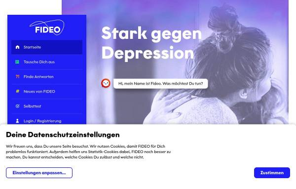 Vorschau von www.fideo.de, Fideo - Fighting Depression Online