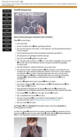 Vorschau der mobilen Webseite www.ritalin-kritik.de, Ritalin-Kritik.de