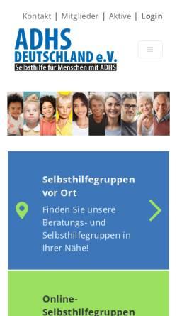 Vorschau der mobilen Webseite adhs-deutschland.de, ADHS Deutschland e.V.