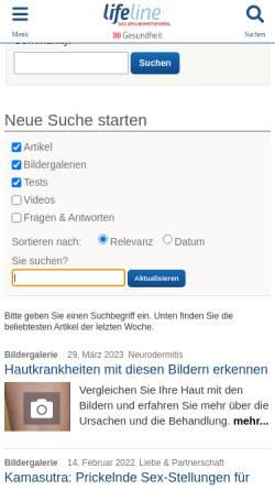 Vorschau der mobilen Webseite www.lifeline.de, Lifeline: Rheuma
