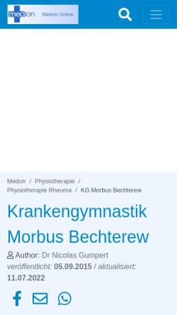 Vorschau der mobilen Webseite www.medon.de, Krankengymnastik bei Morbus Bechterew